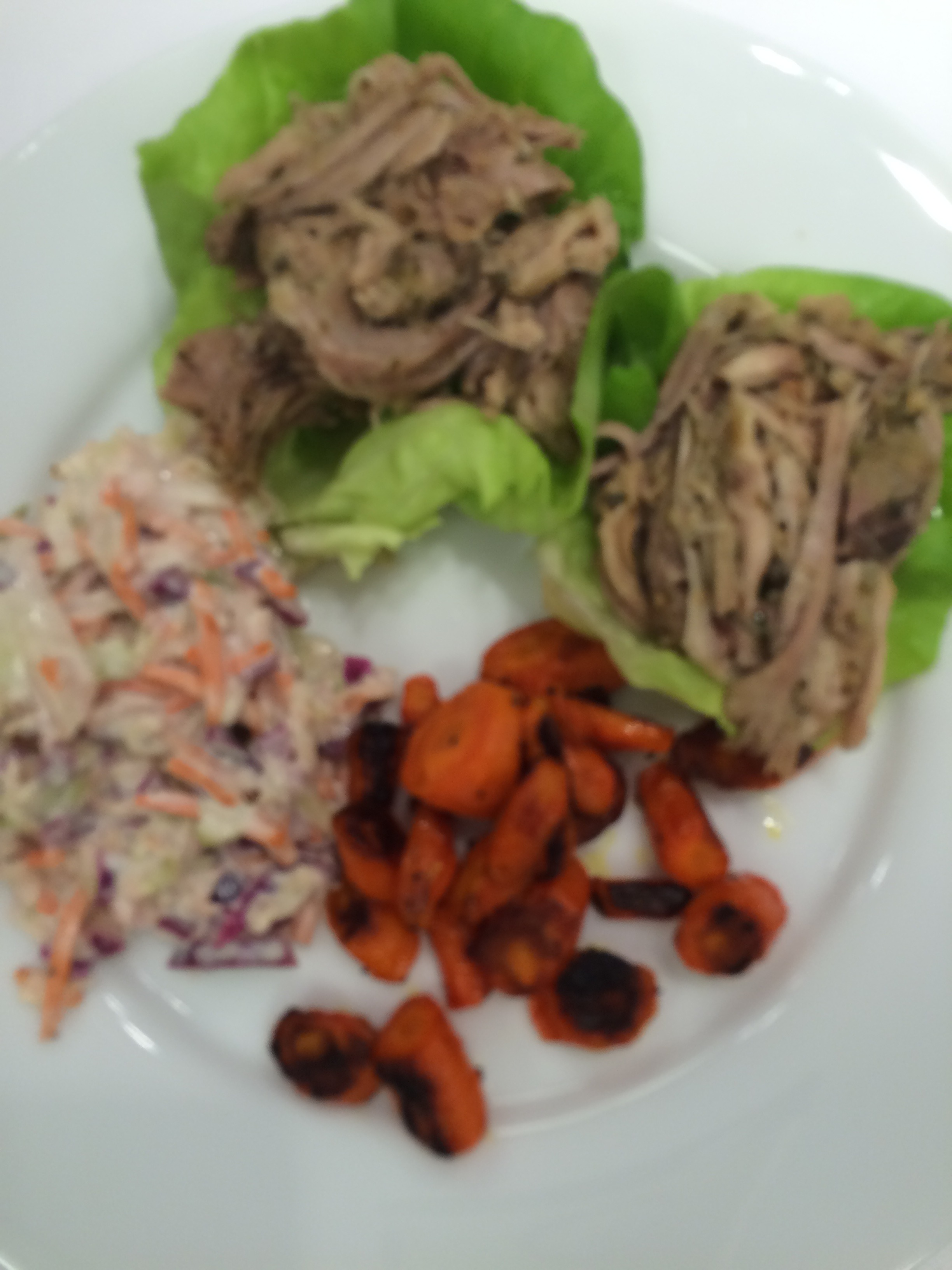 Pulled Pork on Lettuce Cups, Roasted Carrots, and Cole Slaw