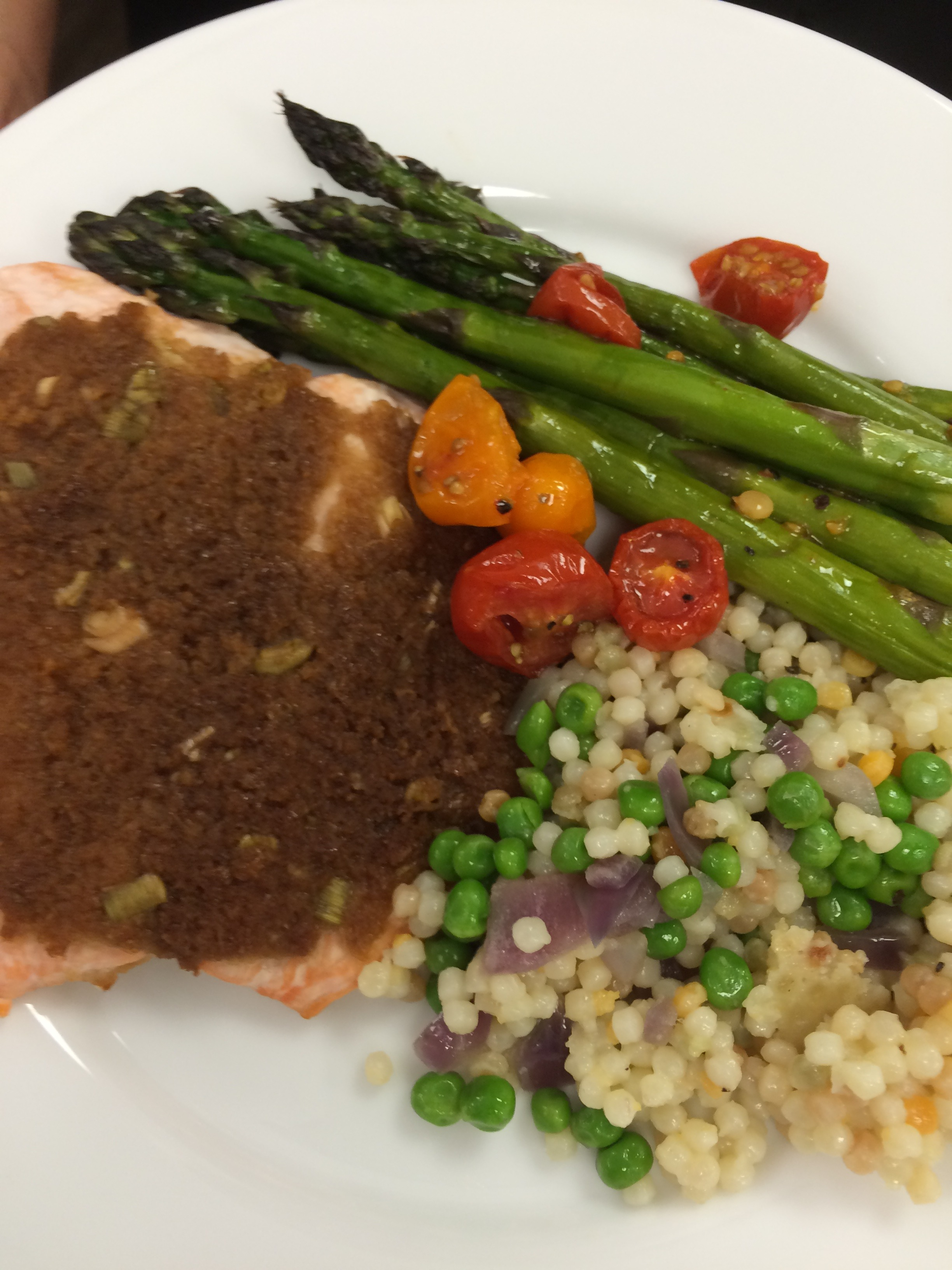 Mustard Crusted Salmon with Roasted Asparagus and Tomatoes and Israeli Couscous