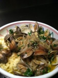 Homemade pasta with white clam sauce