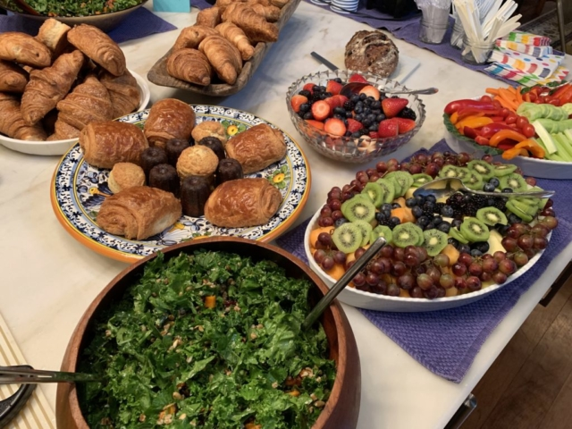 Kale salad with Pepitas and roasted butternut squash, fresh fruit and pastries